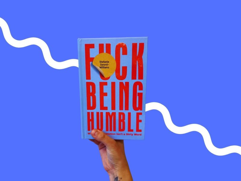 Top 5 Books for modern-day businesswomen headers. F&ck being humble held up